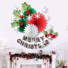 Noel Decoration Maison Chambre Papier Gui Déco MERRY CHRISTMAS Guirlande Rouge Vert Blanc