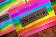 Meaningful Mama: Day #102 - Rainbow Thank You Cards