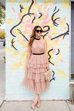 Blush Tulle Ruffle Dress