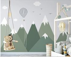 Snowy Green Mountains Hot Air Balloons Clouds Birds Wallpaper Animal Animals Bedroom Children Kids Room Mural Home Decor Wall Art Removable Materials; Peel and Stick Vinyl or Non-Woven Embossed removable Wallpaper FEATURES: Wallpaper; Kids Wall Murals, Nursery Wall Murals, Nursery Room, Boy Room, Child Room, Childrens Wall Murals, Wall Art, Mountain Mural, Mountain Nursery
