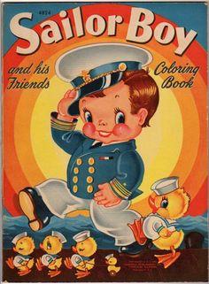 1942 Sailor Boy & His Friends Coloring Book-Merrill