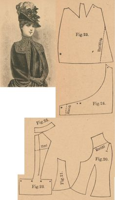 Der Bazar 1887: Springtime mantelet from brown plush and brown passemanterie adornment (with atlas lining); 20. front part, 21. side gore, 22. back part in half size, 23. and 24. over and under pelerine-sleeve parts, 25. collar in half size