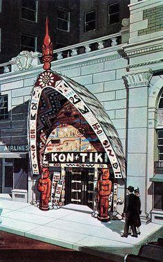 Tiki Bar-Long gone! Closed in the kon-tiki polynesian restaurant montreal canada Of Montreal, Montreal Canada, Tiki Art, Tiki Tiki, Tiki Restaurant, Vintage Restaurant, Restaurant Design, Tiki Decor, Tiki Lounge
