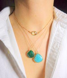 Emerald Drop Necklace by WafflesandHoney on Etsy, $58.00 #WHJ