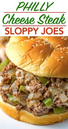 Philly Cheese Steak Sloppy Joes are a classic made simple! Cheesy and delicious!… Philly Cheese Steak Sloppy Joes are a classic made simple! Cheesy and delicious! Steak Sandwich Recipes, Steak Recipes, Cooking Recipes, Simple Sandwich Recipes, Philly Steak Sandwich, Delicious Sandwiches, Protein Recipes, Healthy Recipes, Delicious Recipes