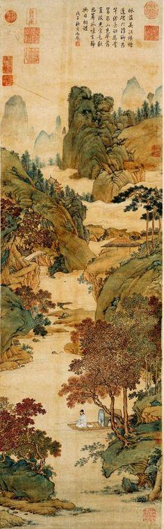 明代 - 仇英 -《楓溪垂釣圖軸》 紙本,設色,縱127cm,横38.5cm。湖南省博物館藏。Qiu Ying (1494-1552, Chinese painter)
