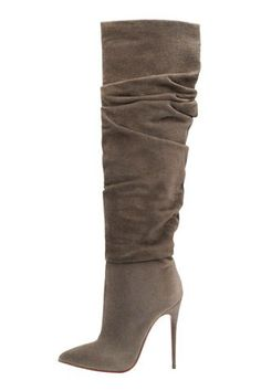 Christian Louboutin Taupe High Heeled Boots Fall 2014 Clothing, Shoes & Jewelry : Women : Shoes : heels http://amzn.to/2l3ZKiR Jeans Modifié, Dream Shoes, Shoes Sandals, Hot Shoes, Shoes Heels Boots, Pretty Shoes, Beautiful Shoes, Bootie Boots, Knee Boots