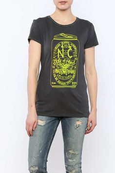 NC State of Mind: Hand Printed Organic Cotton Original Mushpa + Mensa Design T-Shirt Beer Shirts, Cool Shirts, Alternative Outfits, Alternative Apparel, Organic Cotton T Shirts, Yellow Print, T Shirts For Women, Female, Trending Outfits