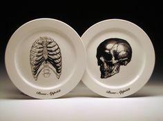 BONE APPETIT dinner plates #skull #skeleton