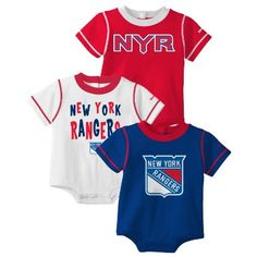 NHL New York Rangers Team Color 3 Piece Creeper Set