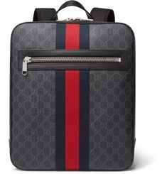 GucciLeather-Trimmed Monogrammed Coated-Canvas Backpack
