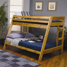 Coaster Furniture Wrangle Hill Collection Twin Over Full Bunk Bed and Built-In Ladder with Optional Stairway Chest, Grey Loft Bunk Beds, Bunk Beds With Stairs, Kids Bunk Beds, Rustic Bunk Beds, Twin Full Bunk Bed, Loft Bed Plans, Diy Bett, Bed Furniture, Coaster Furniture