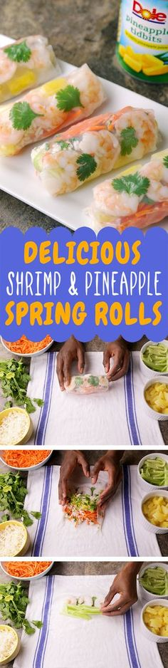 These shrimp and veggie spring rolls with DOLE® Canned Pineapple Tidbits are fresh, crunchy and full of flavor. Oh, did we mention that they are also super fun to make? Seafood Recipes, Appetizer Recipes, Cooking Recipes, Appetizers, Healthy Snacks, Healthy Eating, Healthy Recipes, Veggie Spring Rolls, Summer Rolls