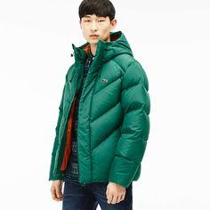 Lacoste Men's L!ve Down Filled Jacket - Bottle Greenbottle Green Lacoste Live, Lacoste Men, Bomber Jacket Men, Leather Jacket, Men Clothes, Mens Fashion, Fashion Outfits, Quilted Jacket, Kids Boys