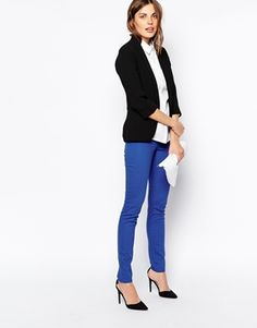 Pieces – Five-Pocket Leggings in Ozeanblau