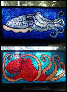 Cuttlefish and Octopus Stained Glass Panels---- omg!!! Guysssssssss these are perfect.