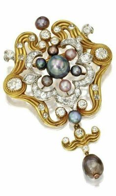 Natural pearl and diamond pendant-brooch, Tiffany & Co., circa 1890. via Sotheby's