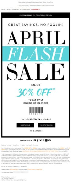 Sent: 4/1/14 SL:'No Foolin' - Save 30% Today Only!' April Fools Day flash sale email from Rockport