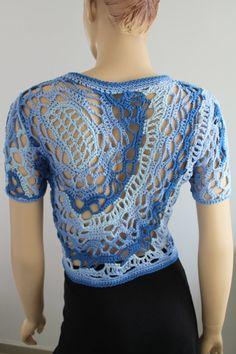 Cotton Freeform Crochet Cardigan Shrug Jacket by levintovich, $155.00