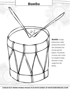 Color a bombo drum and learn about it's background.  The bombo is a large hollow drum that can be heard throughout much of the folk music of South America.
