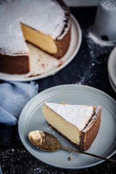 New York Baked Cheesecake | The Macadames Dessert Cake Recipes, No Cook Desserts, Holiday Desserts, Just Desserts, Cookie Recipes, Delicious Desserts, Yummy Food, New York Baked Cheesecake, Savory Cheesecake
