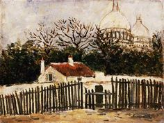 Sacre-Coeur by Maurice Utrillo. Barnes Foundation, Lower Merion, PA, US Amedeo Modigliani, Marc Chagall, Auguste Herbin, Maurice Utrillo, Old Windmills, Paris Painting, Spanish Art, Picture Postcards, Post Impressionism