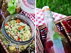 Millet salad with fresh vegetables and herbs and Watermelon juice with mint and lime