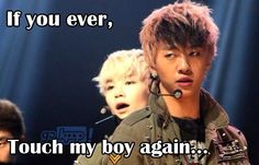 Yongguk protecting his baby