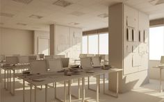 How to model an office interior with Cinema 4Ds modeling tools.