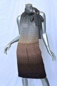 MISSONI Ombre Multi-color Pointelle-Knit Sleeveless Pussycat-Bow-Neck Dress L/44
