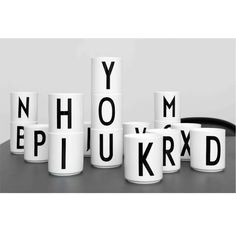 In 1937 the world renowned Danish architect Arne Jacobsen drew a typography for Aarhus City Hall. A Bauhaus inspired typography that despite of its 75 years still looks incredible hot. Arne Jacobsen, Alphabet Mugs, Letter Mugs, Aarhus, Nordic Design, Scandinavian Design, Scandinavian Living, Nordic Style, Design Design