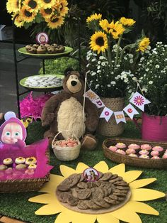 Masha birthday party, sunflower brownies