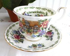 Cup And Saucer Royal Albert Warwickshire English Country Cottages Bone – Antiques And Teacups