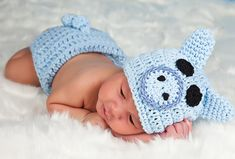 Crochet BLUE PIG Hat and Diaper cover set with Tail Boy or Girl  preemie newborn, 0-3 month, 3-6 month