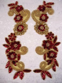 0183 Red Gold 10  Floral Flower Mirror Pair Sequin by gloryshouse