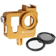 PULUZ Housing Shell CNC Aluminum Alloy Protective Cage with 37mm UV Lens Filter & Lens Cap for GoPro HERO4(Gold)