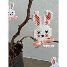 Easter bunny hama beads by pictures_liife Mini Hama Beads, Diy Perler Beads, Fuse Beads, Hama Beads Design, Hama Beads Patterns, Beading Patterns, Easter Crafts, Holiday Crafts, Diy And Crafts