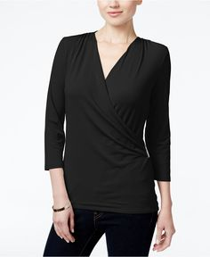 Charter Club Faux-Wrap Top, Only at Macy's - Tops - Women - Macy's