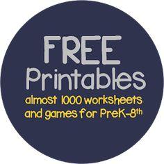 650 free printables, worksheets for kids, homeschool, preschool, prek, kindergarten, first grade, 2nd grade, 3rd grade, 4th grade, 5th grade, 6th grade, 7th grade, and 7th grade