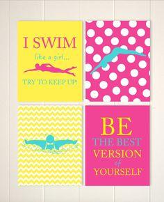 Swimming wall art, girl swimmer wall art, girls motivational quotes art, gift idea for girl, teen girl room decor, set of 4, custom colors by PicabooArtStudio