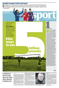 Guardian Sport front page – Five ways to use 5 bilion pounds
