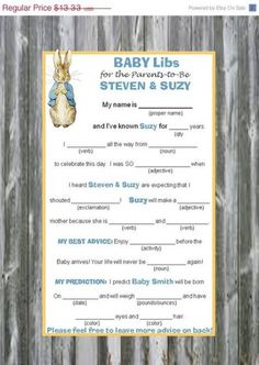 Baby Shower Games Choice of Size Guest Prediction 25 different peter rabbit