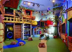 The Jungle gym Area of the Playroom. Need a house with a big basement to do something like this in.