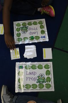 The kids each turn over a card.  They compare the cards and the student with the largest number  gets to move their frog to the next lily pad.  The first one to get their froggy to the last lily pad wins.