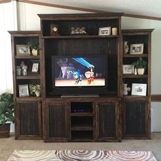 This entertainment center is made from all hard wood and makes a great focal point for your space. This media unit set comes in (4) pieces and can also be used as separate pieces if you ever wanted! P