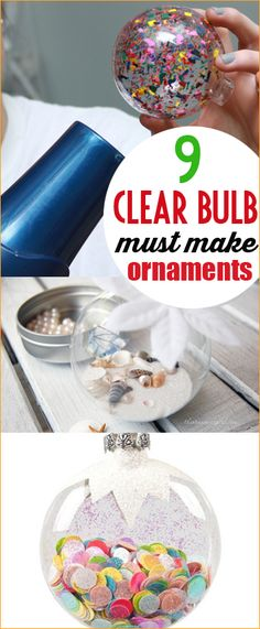 9 Clear Ornaments You Can Make at Home. Creative ways to decorate clear glass or plastic bulbs. Clever Christmas decor that is budget friendly and easy to make. DIY neighbor Christmas gifts. DIY gifts for friends.