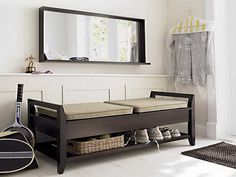 Entryway Bench with Storage With Leather Shoes : Entryway Bench ...