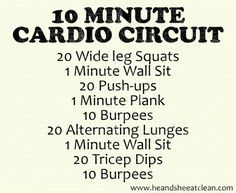 10 Minute Cardio Circuit Finally, something that only takes 10 minutes and NO equipment! Try this 10 Minute Cardio Circuit. Guess there are no excuses now! For more FREE workout plans, go to www. 10 Minute Cardio Workout, Cardio Boxing, Cardio Routine, Best Cardio, Cardio Workouts, Cardio Circuits, Workout Routines, Workout Ideas, Circuit Exercises