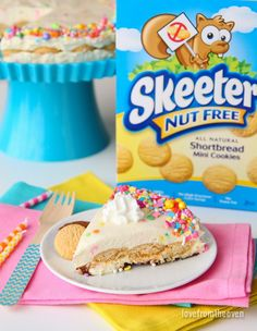 Love this nut-free no-bake cake recipe, perfect for those with nut allergies. With cheesecake, cake mix, sprinkles and Skeeter Nut Free Cookies, this dessert recipe has it all!