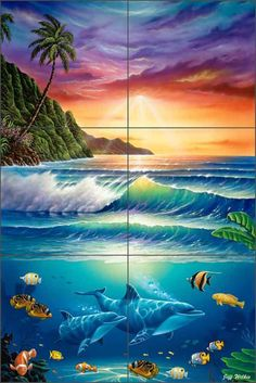 Ceramic Tile Mural Backsplash Wilkie Tropical Undersea Dolphin Fish POV-JWA007 #ArtworkOnTile #Traditional